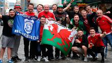 Wales supporters gather in Dublin city centre ahead of the game in The Aviva Stadium tonight. Photo: Damien Eagers