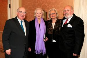 Senator Paul Coghlan, Helen Moran, Margaret Flannery and Senator David Norris at the book launch/birthday party for Brendan Kennelly in the Shelbourne Hotel, Dublin. Picture:Arthur Carron/Collins