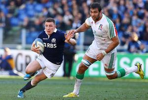 Scotland's Duncan Weir (left) in action during the RBS 6 Nations match against Italy