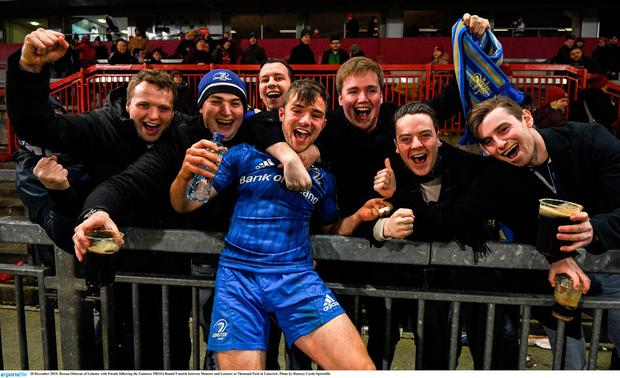 Rowan Osborne of Leinster with friends following the win over Munster