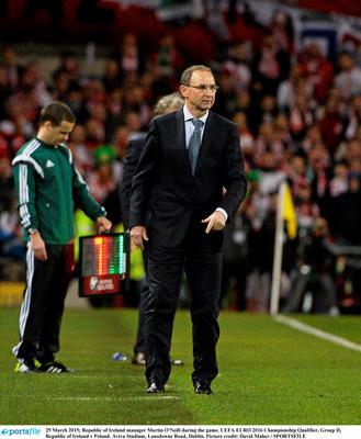 29 March 2015; Republic of Ireland manager Martin O'Neill during the game. UEFA EURO 2016 Championship Qualifier, Group D, Republic of Ireland v Poland. Aviva Stadium, Lansdowne Road, Dublin. Picture credit: David Maher / SPORTSFILE