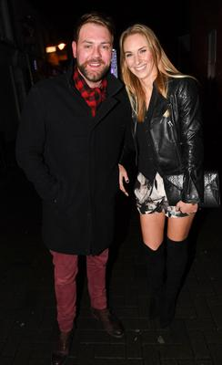 Brian McFadden & his new girlfriend Danielle Parkinson go on a double date with his Boyzlife partner Keith Duffy and his wife Lisa Duffy at Wishbone Restaurant on Montague Street,  Dublin