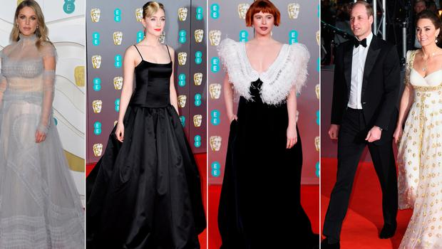 (L to R) Amy Huberman, Saoirse Ronan, Jessie Buckley, Prince William and Kate Middleton at the BAFTAs
