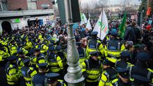 Anti Water Charges Protesters and Gardai clash at the junction of Nassau street and Kildare street
