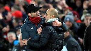 Liverpool manager Jurgen Klopp and Manchester City boss Pep Guardiola. Photo: Peter Byrne/PA
