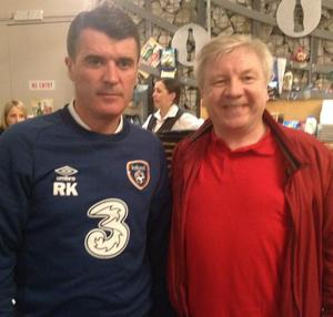 Roy Keane pictured with writer Michael Nugent ahead of the performance