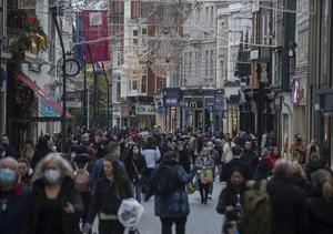 Shoppers on a packed Grafton Street as shops reopened. Photo: Colin Keegan, Collins Dublin