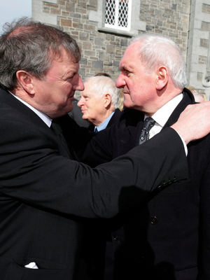 Former Taoiseach Bertie Ahern offers his condolences to Conor Haughey Photo: Damien Eagers