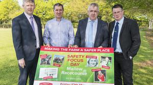 At the launch of the Dairygold 'Making The Farm A Safer Place' safety focus day in Mallow Racecourse are Billy Cronin, Dairygold, John O'Gorman, Vice Chairman, Dairygold, James Lynch, Chairman, Dairygold & John Maher, Teagasc Dairy Specialist. Photo O'Gorman Photography.