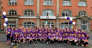 1 June 2015; Pictured ahead of the 2015 Vhi Women's Mini Marathon are some of the Vhi staff who took part. The event saw over 37,000 participants take to the streets of Dublin to run, walk and jog the 10km route, raising much needed funds for hundreds of charities around the country. Vhi Head Office, Abbey St, Dublin. Picture credit: Ray McManus / SPORTSFILE