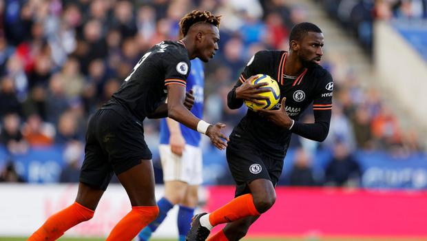 Soccer Football - Premier League - Leicester City v Chelsea - King Power Stadium, Leicester, Britain - February 1, 2020  Chelsea's Antonio Rudiger celebrates scoring their second goal with teammate Tammy Abraham   Action Images via Reuters/John Sibley