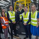 (L-R) Tanaiste Simon Coveney, Candidate Sandra McIntyre, Taoiseach Leo Varadkar, Minister Heather Humphries TD, Minister Paschal Donohoe TD, Minister Helen McEntee TD and candidate Cllr. TP O'Reilly visit Combilift in Monaghan to launch their election campaign Photo: Douglas O'Connor