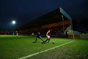 A general view of the action during the FA Cup Third Round match between Rochdale and Nottingham Forest