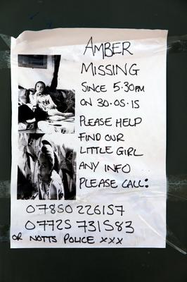 A poster appeals for information about missing teenager Amber Peat, 13, from Bosworth Street in Mansfield. Amber Peat/PA Wire