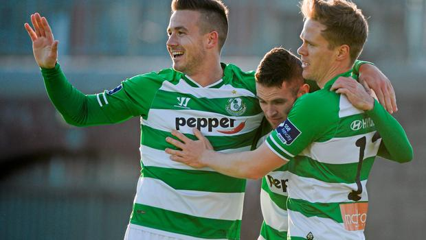 8 June 2015; Shamrock Rovers' Michael Drennan, left, celebrates with team-mates Kieran Marty Waters and Simon Madden, right, after he scored his side's first goal. SSE Airtricity League Premier Division, Shamrock Rovers v Derry City, Tallaght Stadium, Tallaght, Co. Dublin. Picture credit: Dáire Brennan / SPORTSFILE