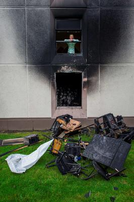 Wednesday 23 September 2015. Cromcastle Court fire. Sandra Ivers from the flat above.