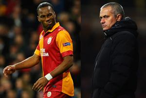 Didier Drogba of Galatasaray and former Chelsea player (L) and Chelsea Manager Jose Mourinho