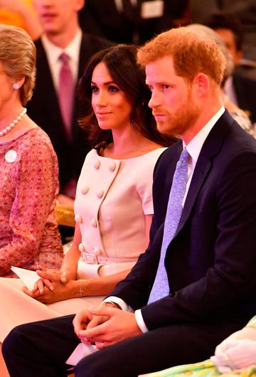 The Duke and Duchess of Sussex at the Queen's Young Leaders Awards Ceremony at Buckingham Palace, London
