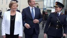 Taoiseach Enda Kenny with Justice Minister Frances Fitzgerald and Garda Commissioner Noirin O'Sullivan for a garda passing out parade in the Garda College in Templemore, Co Tipperary, yesterday.