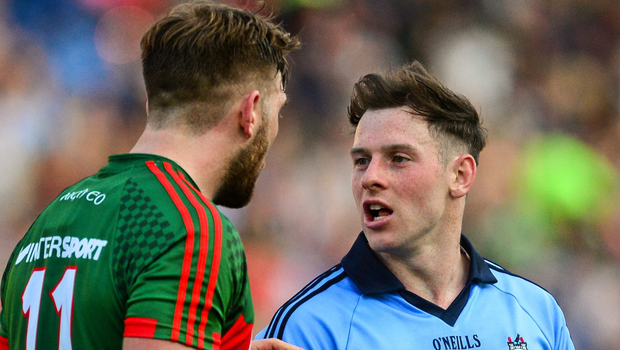 Dublin's Philip McMahon exchanges words with Mayo's Aidan O'Shea after the All-Ireland SFC semi-final replay in 2015. Photo: Sportsfile