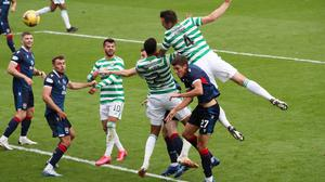 Celtic's Shane Duffy scores their third goal on his debut against Ross County  REUTERS/Russell Cheyne