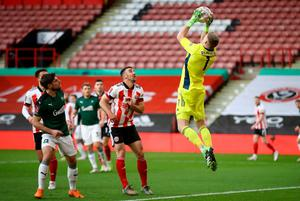 Sheffield United goalkeeper Aaron Ramsdale makes a save. Photo: PA