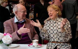 Afternoon tea: Maeve Binchy's husband Gordon Snell and Kathleen Watkins at the Gaiety. Photo: Gareth Chaney, Collins