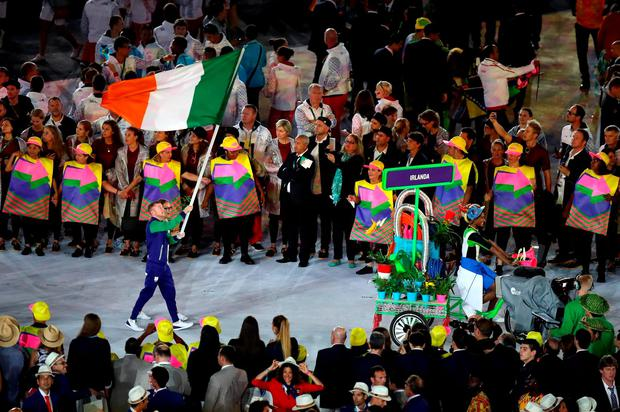 Ireland Flag Bearer Paddy Barnes leads out Ireland during the Rio Olympic Games 2016 Opening Ceremony