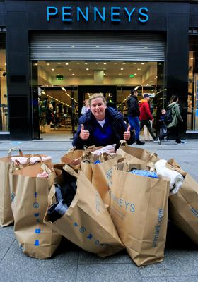 Niamh Hennessy, from Finglas, gives the thumbs-up after her shopping spree.