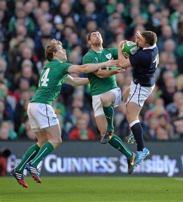 2 February 2014; Duncan Weir, Scotland, in action against Andrew Trimble, left, and Rob Kearney, Ireland. RBS Six Nations Rugby Championship, Ireland v Scotland, Aviva Stadium, Lansdowne Road, Dublin. Picture credit: Paul Mohan / SPORTSFILE
