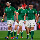 Ireland players (from left) Iain Henderson, Josh van der Flier, CJ Stander and Tadhg Furlong show the pain of the World Cup hammering to New Zealand. All four are in Andy Farrell's team to face Scotland in the Six Nations opener on Saturday. Photo: Ramsey Cardy/Sportsfile