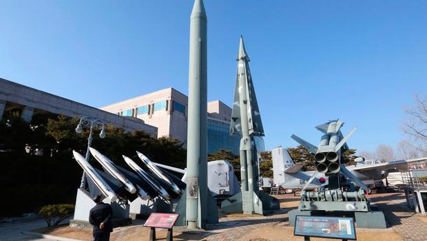 A mock North Korea's Scud-B missile, center left, and South Korean missiles are displayed at Korea War Memorial Museum in Seoul, South Korea. North Korea on (AP Photo/Ahn Young-joon, File)