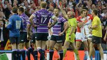 Refeere Phil Bentham sending off Ben Flower of Wigan Warriors during the First Utility Super League Grand Final between St Helens and Wigan Warriors at Old Trafford