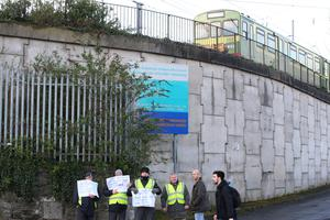 A picket at Clontarf DART station this morning (Picture: Mark Condren)
