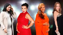 (L to R) Meghan Markle, Kim Kardashian, Beyonce and Kelly Preston have all been accused of faking their pregnancies