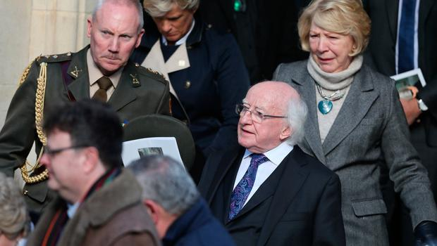 President Michael D Higgins (second right) and his wife Sabina (right) leave the church following the funeral of journalist and broadcaster Keelin Shanley at St Paul's Church, Glenageary, Co Dublin. Photo: Brian Lawless/PA Wire