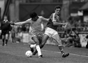Kevin Moran, Republic of Ireland in action against Ricardo, Brazil, during an international friendly at Lansdowne Road on May 23, 1987. Photo: Ray McManus/Sportsfile