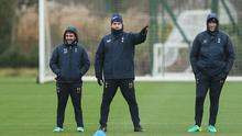 ENFIELD, ENGLAND - JANUARY 12:  Jesús Pérez, Mauricio Pochettino and Toni Jiménez of Tottenham during the Tottenham Hotspur Training session at Tottenham Hotspur Training Centre on January 12, 2017 in Enfield, England.  (Photo by Tottenham Hotspur FC/Tottenham Hotspur FC via Getty Images)