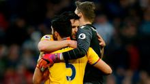 Crystal Palace's James Tomkins and Crystal Palace's Wayne Hennessey celebrate