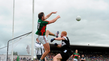 19 July 2015; Aidan O'Shea, Mayo, in action against Ross Donavan, Sligo. Connacht GAA Football Senior Championship Final, Mayo v Sligo, Dr. Hyde Park, Roscommon. Picture credit: David Maher / SPORTSFILE