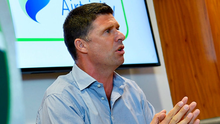 Niall Quinn speaking in Abbotstown last year. Photo by Ramsey Cardy/Sportsfile