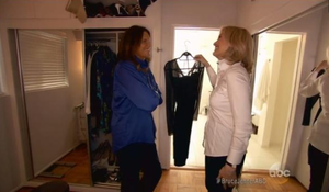 Bruce Jenner and Diane Sawyer go into the reality star's dress closet during Friday's ABC interview. Credit ABC news