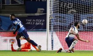 Wycombe's Fred Onyedinma celebrates scoring his side's first goal. Photo: Reuters
