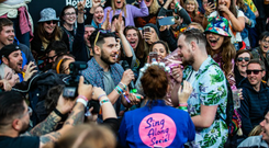 Mark Taylor proposes to Sean Carroll at the Heineken Live Your Music stage at Electric Picnic 2019.