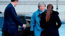 Pressure: British Prime Minister Theresa May arrives at the rear of 10 Downing Street in central London. Picture: AFP/Getty