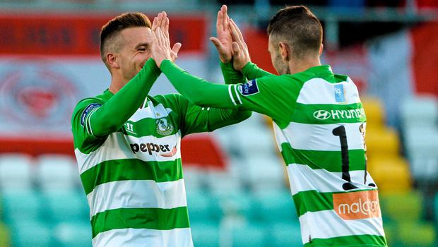 5 June 2015; Kieran Marty Waters, right , Shamrock Rovers, celebrates after scoring his side's second goal with teammate Mikey Drennan. SSE Airtricity League Premier Division, Shamrock Rovers v Sligo Rovers. Tallaght Stadium, Tallaght, Co. Dublin. Picture credit: David Maher / SPORTSFILE