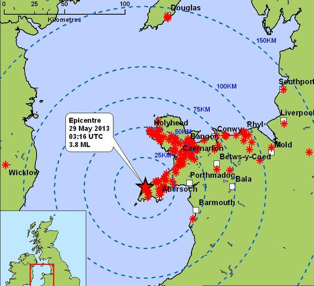 Area affected by the quake. Photo: British Geological Survey