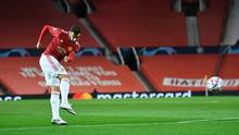Bruno Fernandes gives Manchester United the lead with a stunning strike in the  first half of last night's Champions League clash with Istanbul Basaksehir at Old Trafford. Photo: REUTERS/Toby Melville
