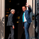 Taoiseach Leo Varadkar meets British Prime Minister Theresa May outside No 10 Downing Street last month Photo: PA Wire
