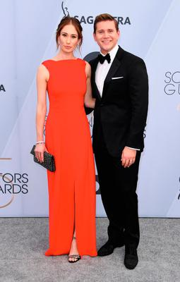 Actor Allen Leech and his wife Jessica Herman arrive for the 25th Annual Screen Actors Guild Awards at the Shrine Auditorium in Los Angeles on January 27, 2019. (Photo by Mark RALSTON / AFP)